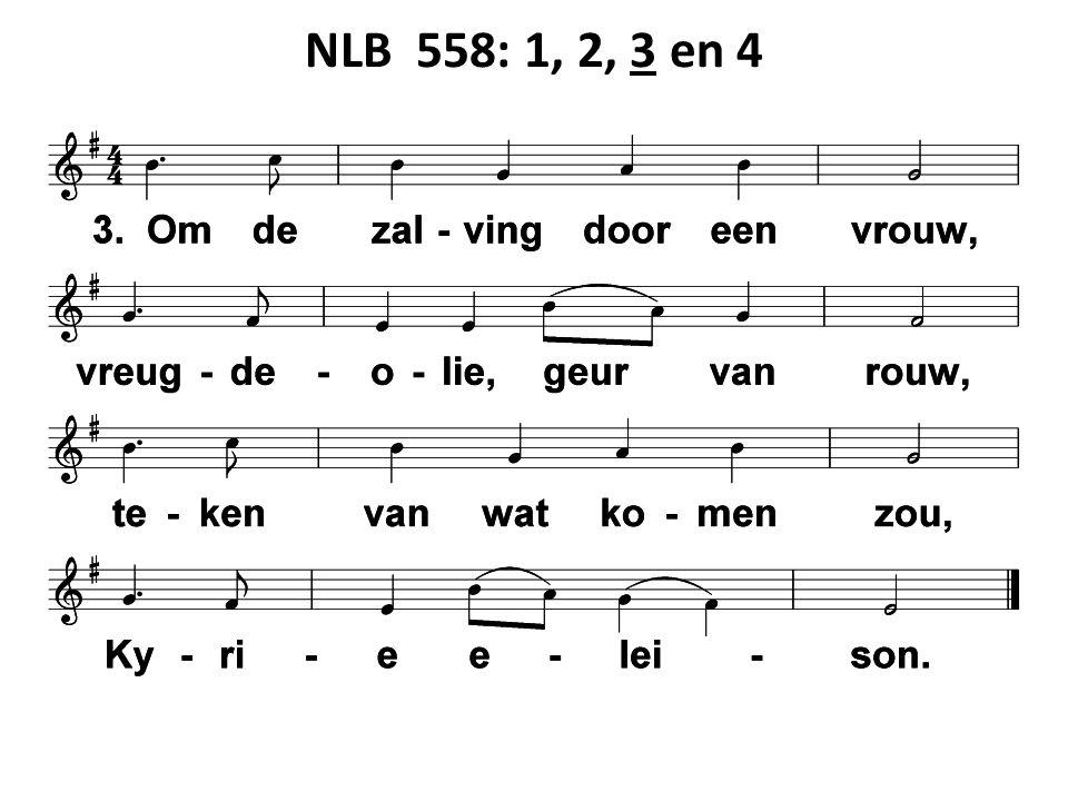 NLB 837: 1, 2, 3 en 4 Iedereen zoekt U, jong of oud, speurend langs allerlei wegen: kronkelig, vreemd, of recht, vertrouwd, meester, waar kom ik U tegen.