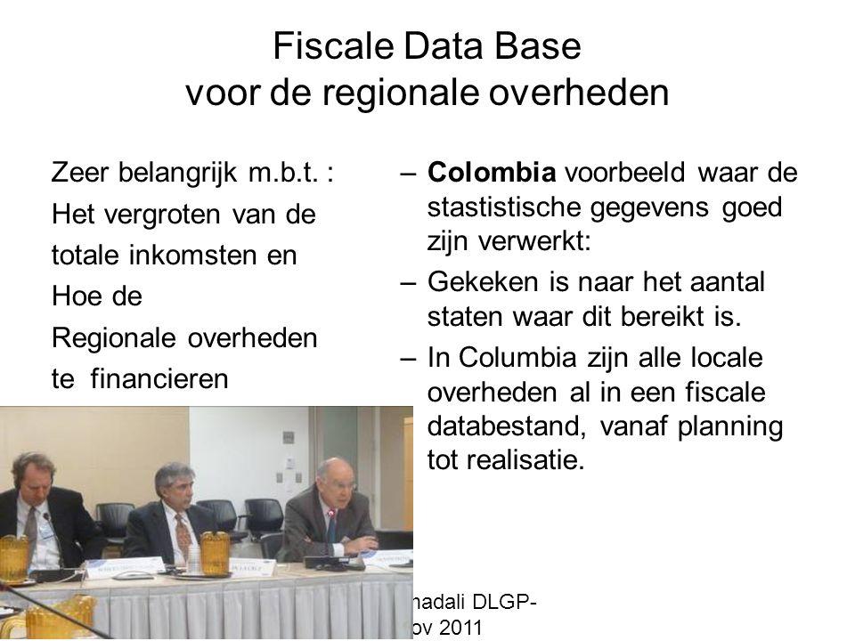 mr. Bas Ahmadali DLGP- MD 17/18 nov 2011 Fiscale Data Base voor de regionale overheden Zeer belangrijk m.b.t. : Het vergroten van de totale inkomsten