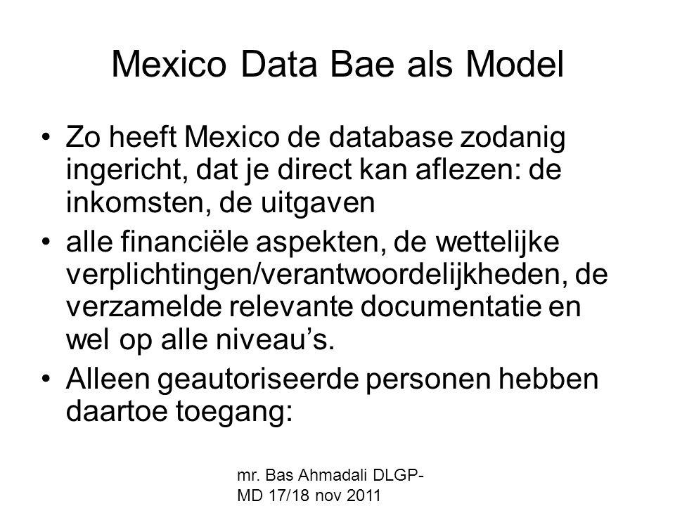 mr. Bas Ahmadali DLGP- MD 17/18 nov 2011 Mexico Data Bae als Model Zo heeft Mexico de database zodanig ingericht, dat je direct kan aflezen: de inkoms