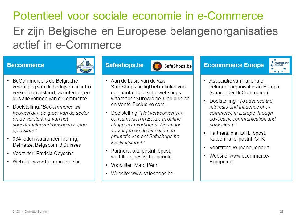 © 2014 Deloitte Belgium25 BeCommerce is de Belgische vereniging van de bedrijven actief in verkoop op afstand, via internet, en dus alle vormen van e-