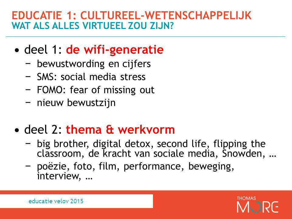 deel 1: de wifi-generatie − bewustwording en cijfers − SMS: social media stress − FOMO: fear of missing out − nieuw bewustzijn deel 2: thema & werkvor