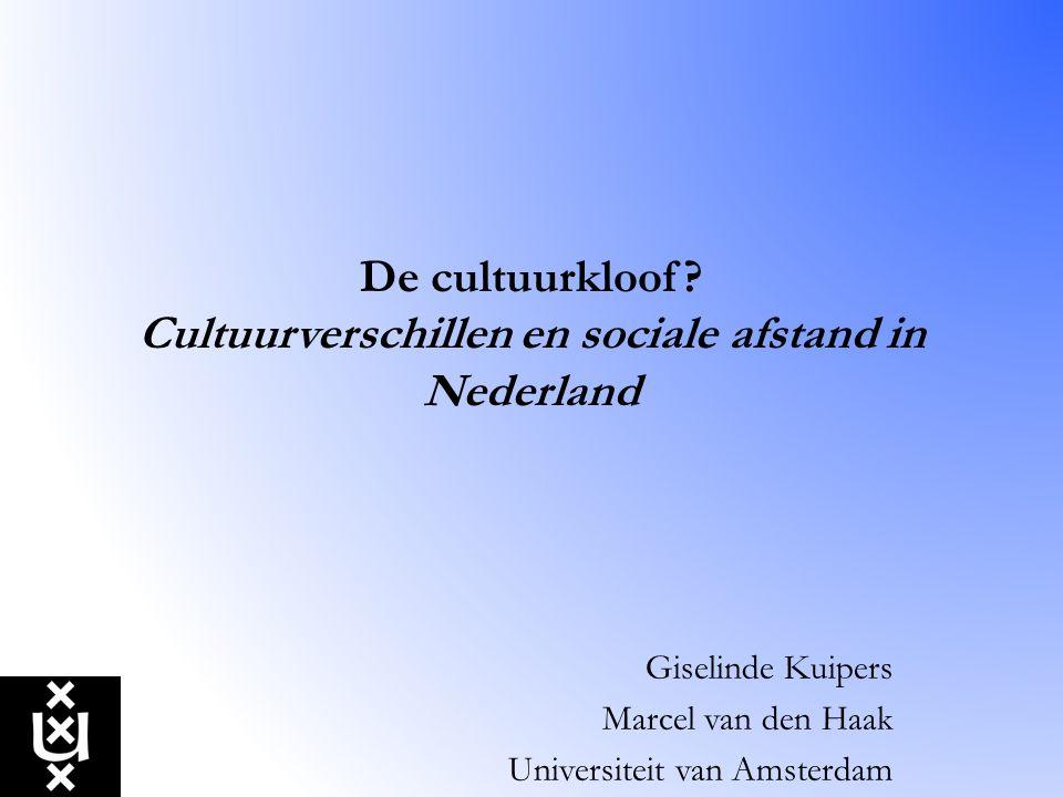 De cultuurkloof? Cultuurverschillen en sociale afstand in Nederland Giselinde Kuipers Marcel van den Haak Universiteit van Amsterdam