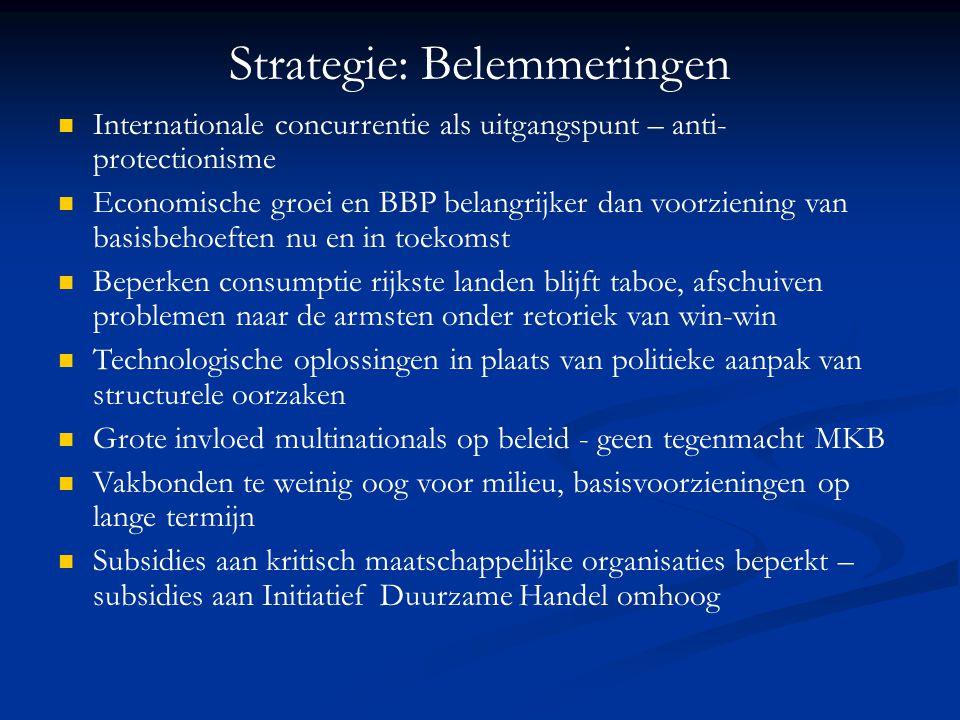 Strategie: Belemmeringen Internationale concurrentie als uitgangspunt – anti- protectionisme Economische groei en BBP belangrijker dan voorziening van