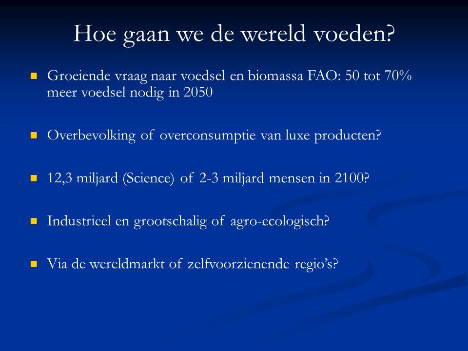 Hoe gaan we de wereld voeden? Groeiende vraag naar voedsel en biomassa FAO: 50 tot 70% meer voedsel nodig in 2050 Overbevolking of overconsumptie van