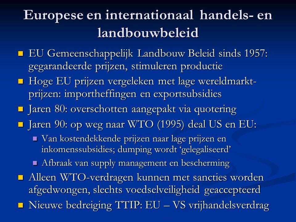 Europese en internationaal handels- en landbouwbeleid EU Gemeenschappelijk Landbouw Beleid sinds 1957: gegarandeerde prijzen, stimuleren productie EU