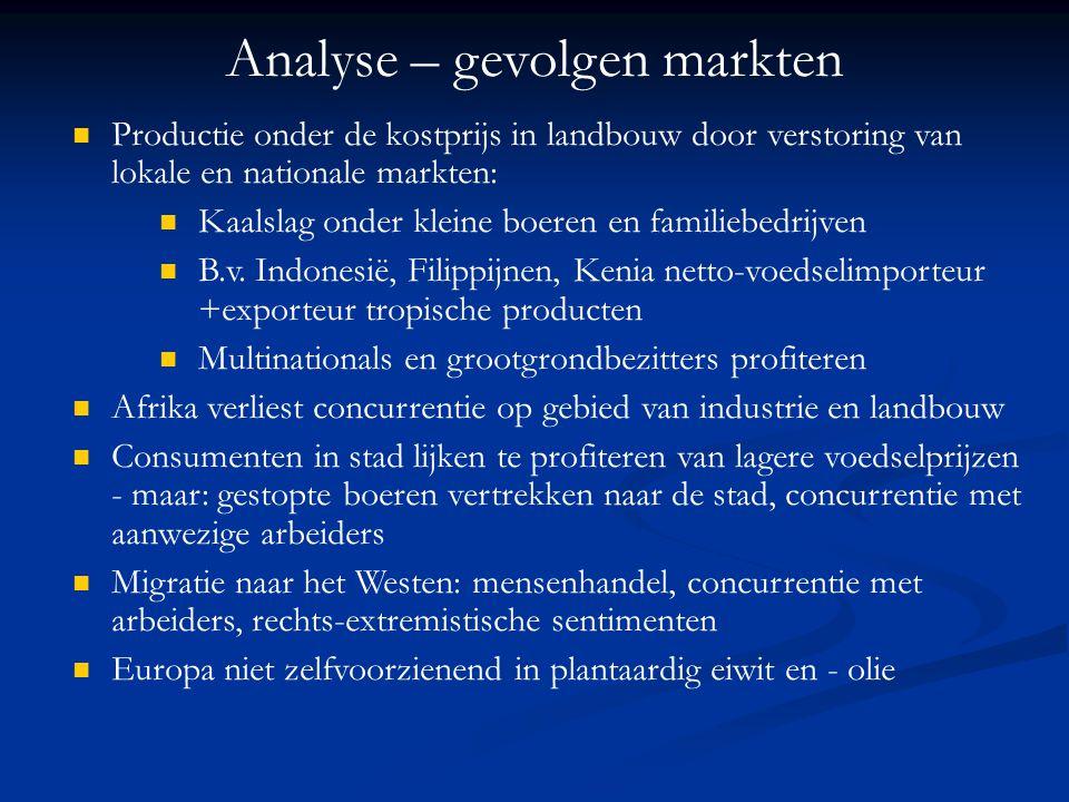 Analyse – gevolgen markten Productie onder de kostprijs in landbouw door verstoring van lokale en nationale markten: Kaalslag onder kleine boeren en f