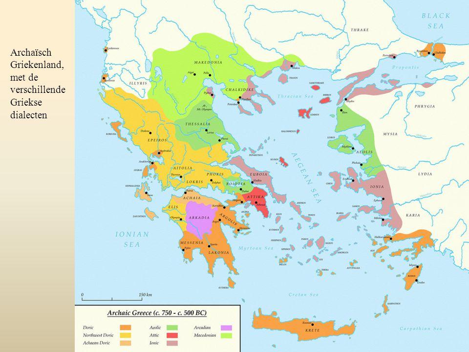 Archaïsch Griekenland, met de verschillende Griekse dialecten
