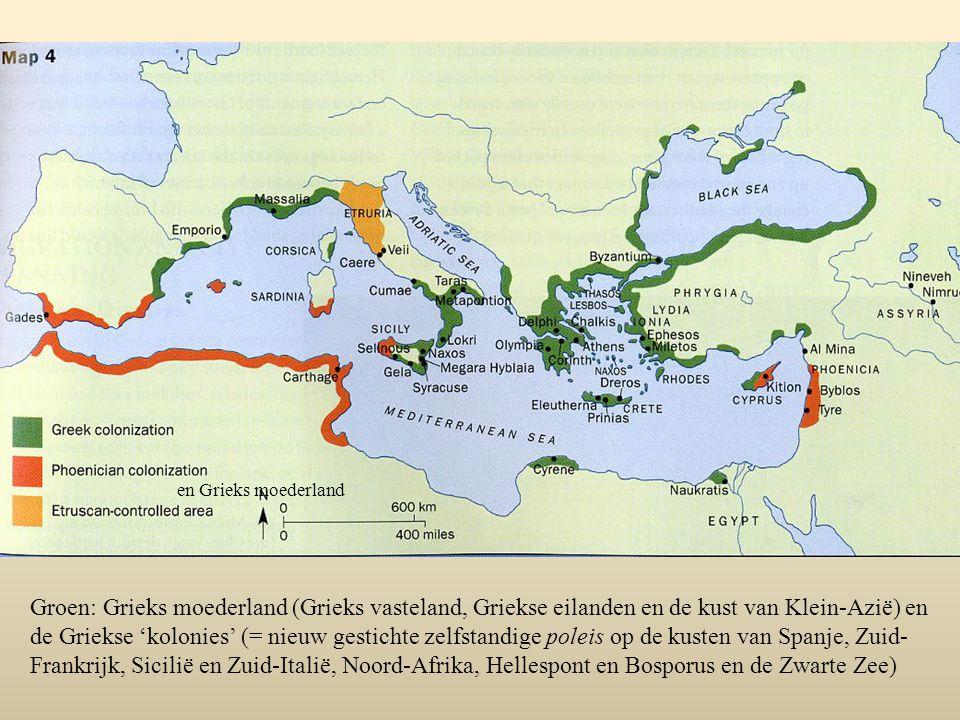 en Grieks moederland Groen: Grieks moederland (Grieks vasteland, Griekse eilanden en de kust van Klein-Azië) en de Griekse 'kolonies' (= nieuw gestich
