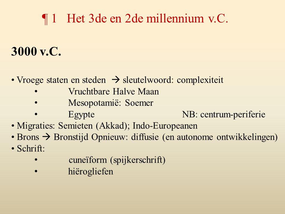 3000 v.C. Vroege staten en steden  sleutelwoord: complexiteit Vruchtbare Halve Maan Mesopotamië: Soemer EgypteNB: centrum-periferie Migraties: Semiet
