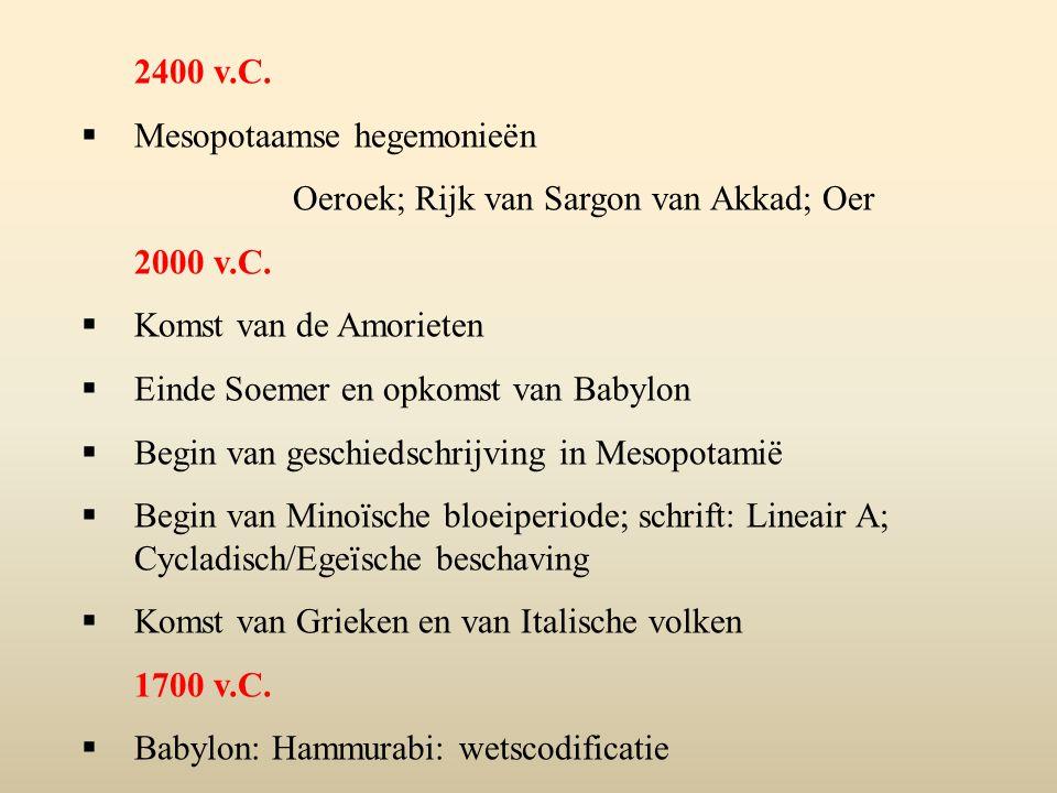 2400 v.C.  Mesopotaamse hegemonieën Oeroek; Rijk van Sargon van Akkad; Oer 2000 v.C.  Komst van de Amorieten  Einde Soemer en opkomst van Babylon 