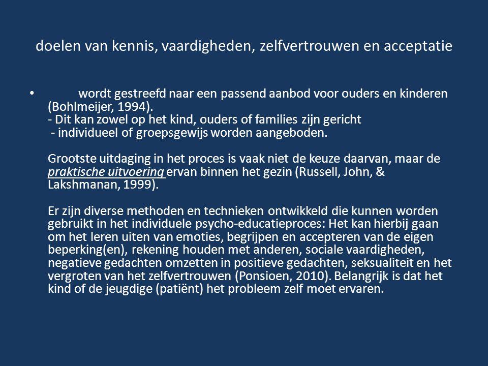 doelen van kennis, vaardigheden, zelfvertrouwen en acceptatie wordt gestreefd naar een passend aanbod voor ouders en kinderen (Bohlmeijer, 1994). - Di