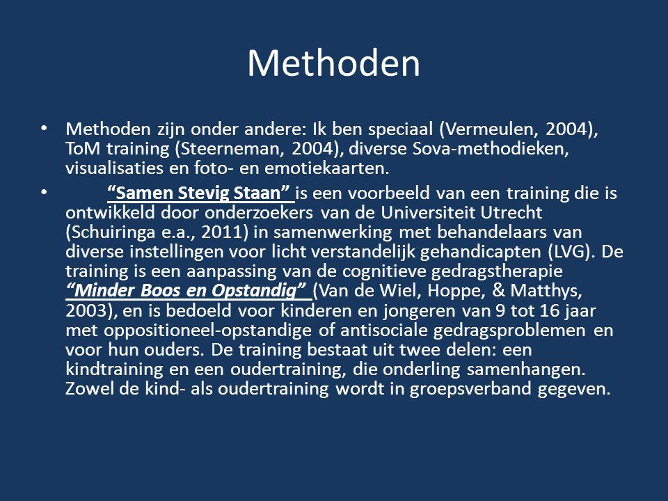 Methoden Methoden zijn onder andere: Ik ben speciaal (Vermeulen, 2004), ToM training (Steerneman, 2004), diverse Sova-methodieken, visualisaties en fo