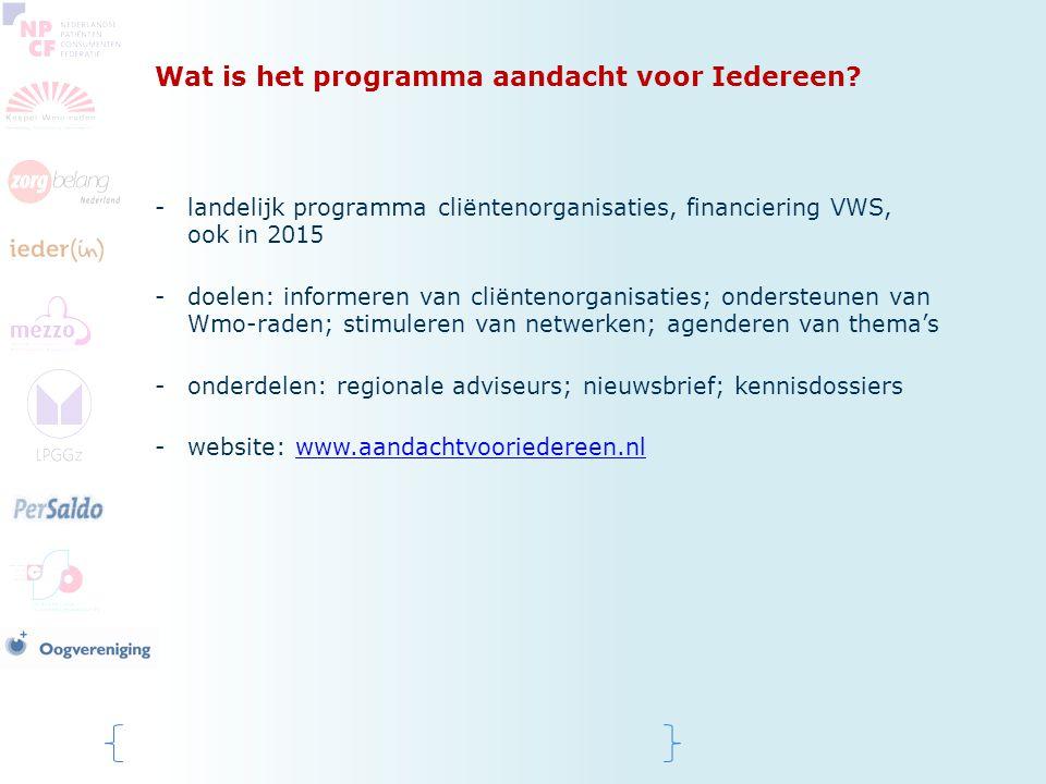 Wat is het programma aandacht voor Iedereen? -landelijk programma cliëntenorganisaties, financiering VWS, ook in 2015 -doelen: informeren van cliënten