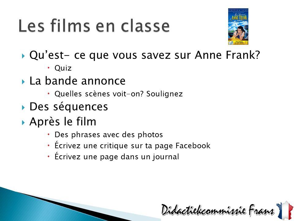  Qu'est- ce que vous savez sur Anne Frank?  Quiz  La bande annonce  Quelles scènes voit-on? Soulignez  Des séquences  Après le film  Des phrase