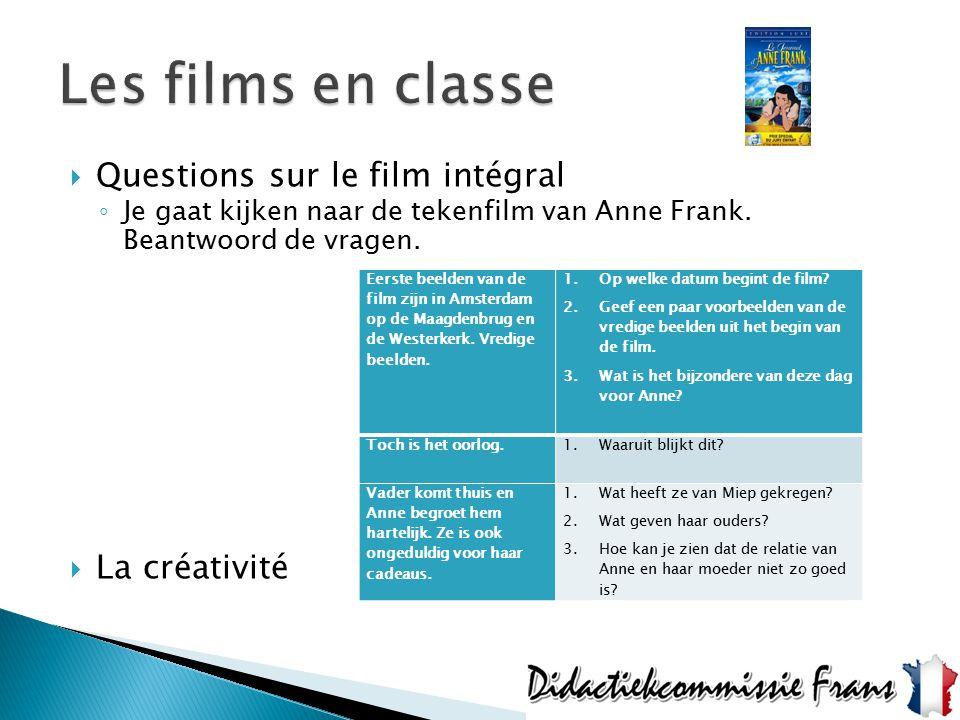  Questions sur le film intégral ◦ Je gaat kijken naar de tekenfilm van Anne Frank. Beantwoord de vragen.  La créativité Eerste beelden van de film z