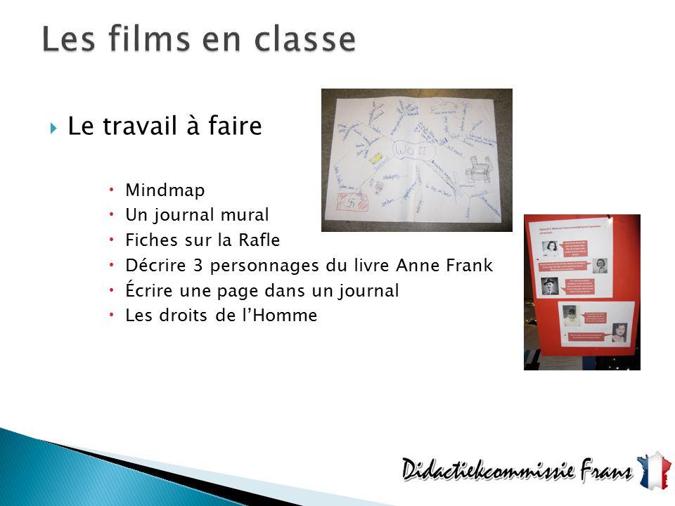  Le travail à faire  Mindmap  Un journal mural  Fiches sur la Rafle  Décrire 3 personnages du livre Anne Frank  Écrire une page dans un journal