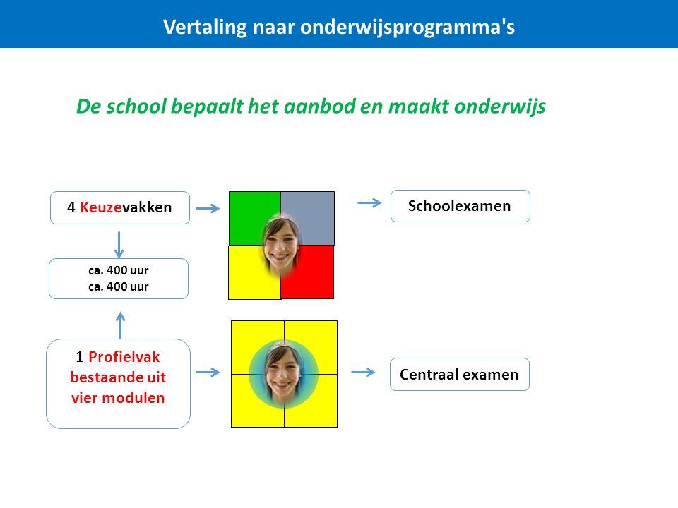 Vertaling naar onderwijsprogramma's De school bepaalt het aanbod en maakt onderwijs Centraal examen Schoolexamen 1 Profielvak bestaande uit vier modul