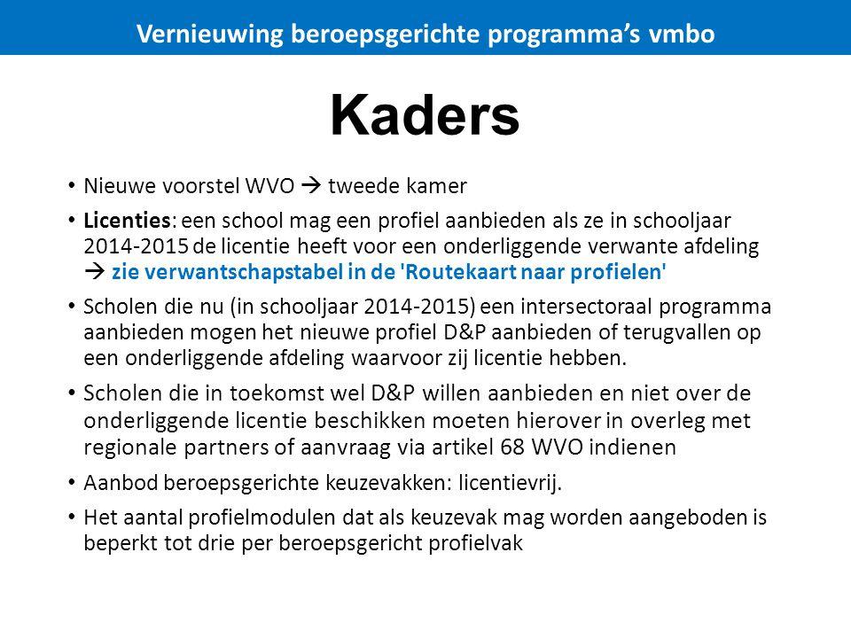 Kaders Nieuwe voorstel WVO  tweede kamer Licenties: een school mag een profiel aanbieden als ze in schooljaar 2014-2015 de licentie heeft voor een on