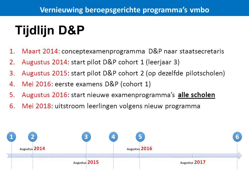 Tijdlijn D&P 1.Maart 2014: conceptexamenprogramma D&P naar staatsecretaris 2.Augustus 2014: start pilot D&P cohort 1 (leerjaar 3) 3.Augustus 2015: sta