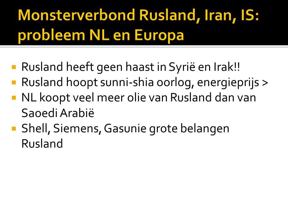  Rusland heeft geen haast in Syrië en Irak!!  Rusland hoopt sunni-shia oorlog, energieprijs >  NL koopt veel meer olie van Rusland dan van Saoedi A