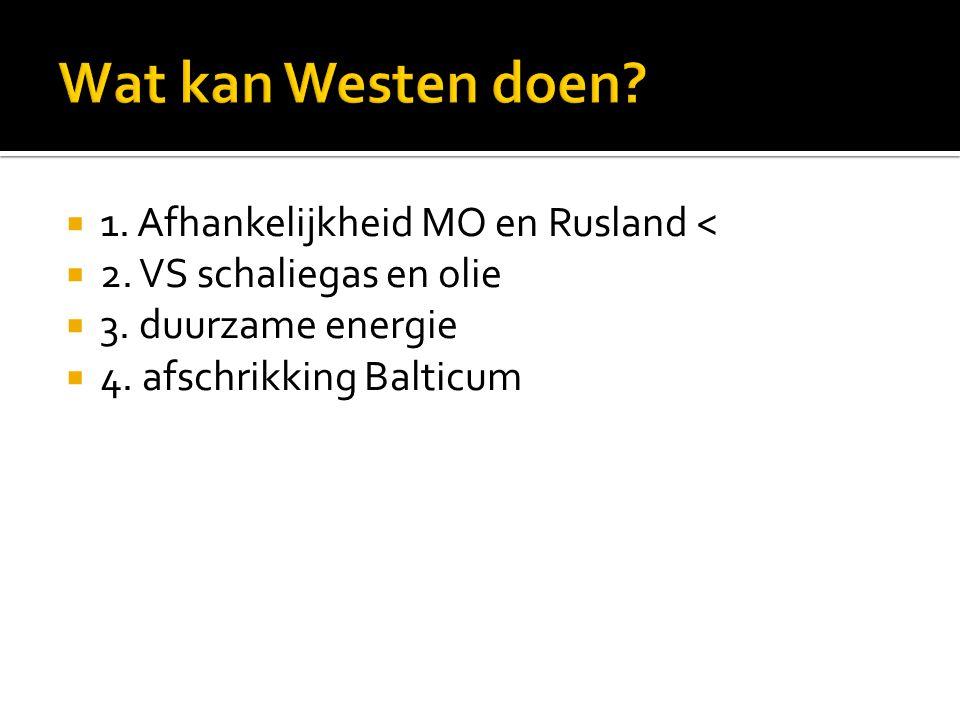  1. Afhankelijkheid MO en Rusland <  2. VS schaliegas en olie  3. duurzame energie  4. afschrikking Balticum
