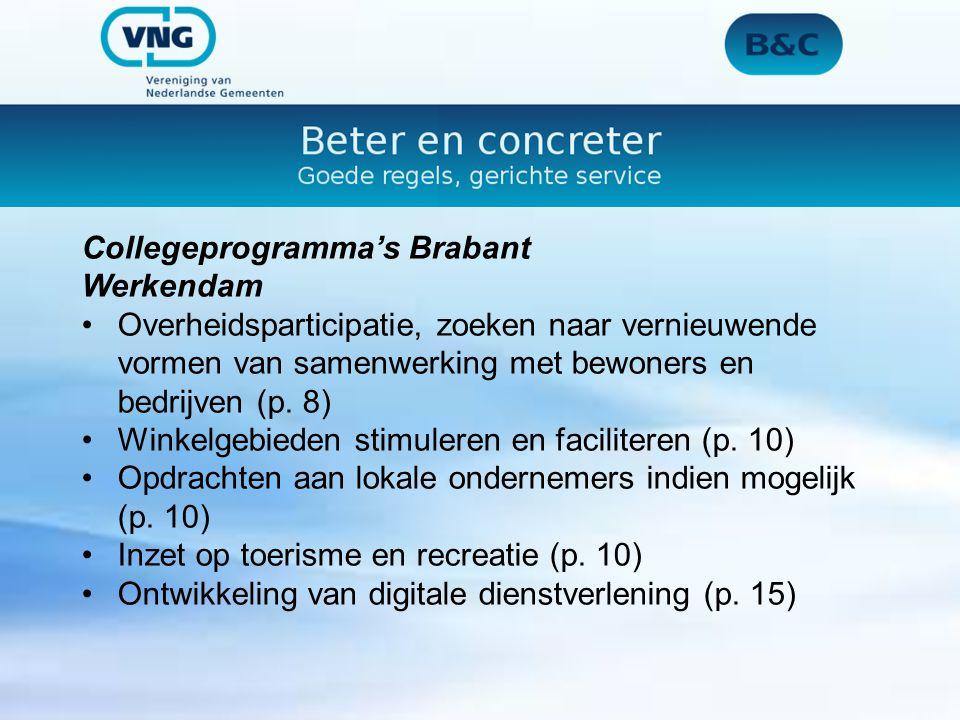 Collegeprogramma's Brabant Werkendam Overheidsparticipatie, zoeken naar vernieuwende vormen van samenwerking met bewoners en bedrijven (p.