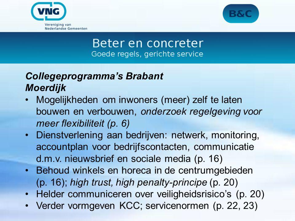 Collegeprogramma's Brabant Moerdijk Mogelijkheden om inwoners (meer) zelf te laten bouwen en verbouwen, onderzoek regelgeving voor meer flexibiliteit (p.