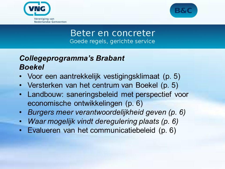 Collegeprogramma's Brabant Bladel 2011 is in het kader van de deregulering het welstandstoezicht gemoderniseerd en vereenvoudigd.