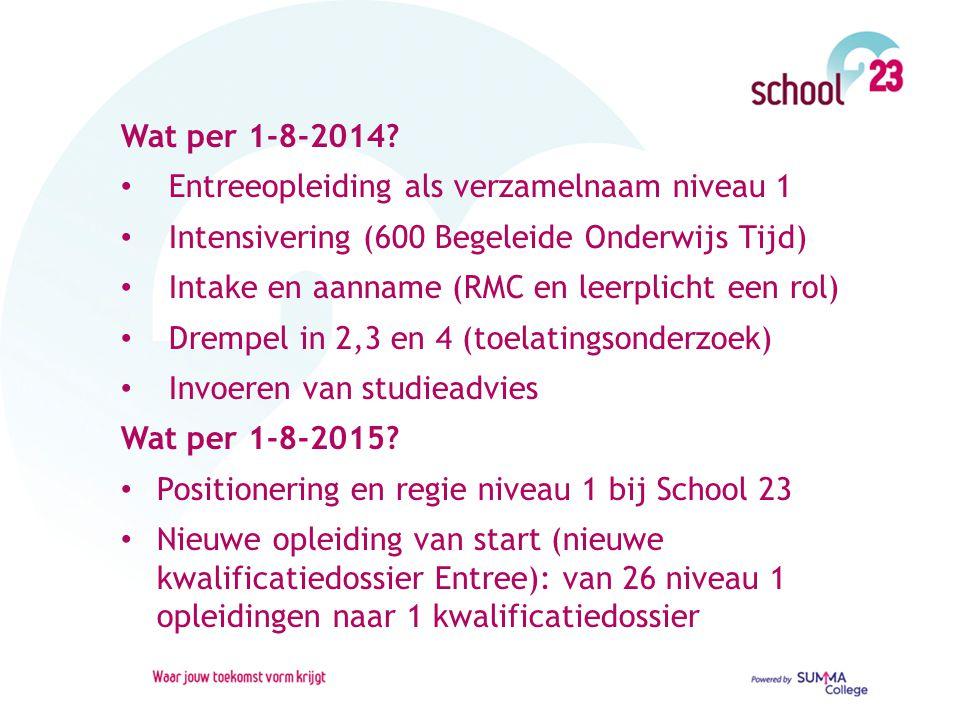 Wat per 1-8-2014? Entreeopleiding als verzamelnaam niveau 1 Intensivering (600 Begeleide Onderwijs Tijd) Intake en aanname (RMC en leerplicht een rol)