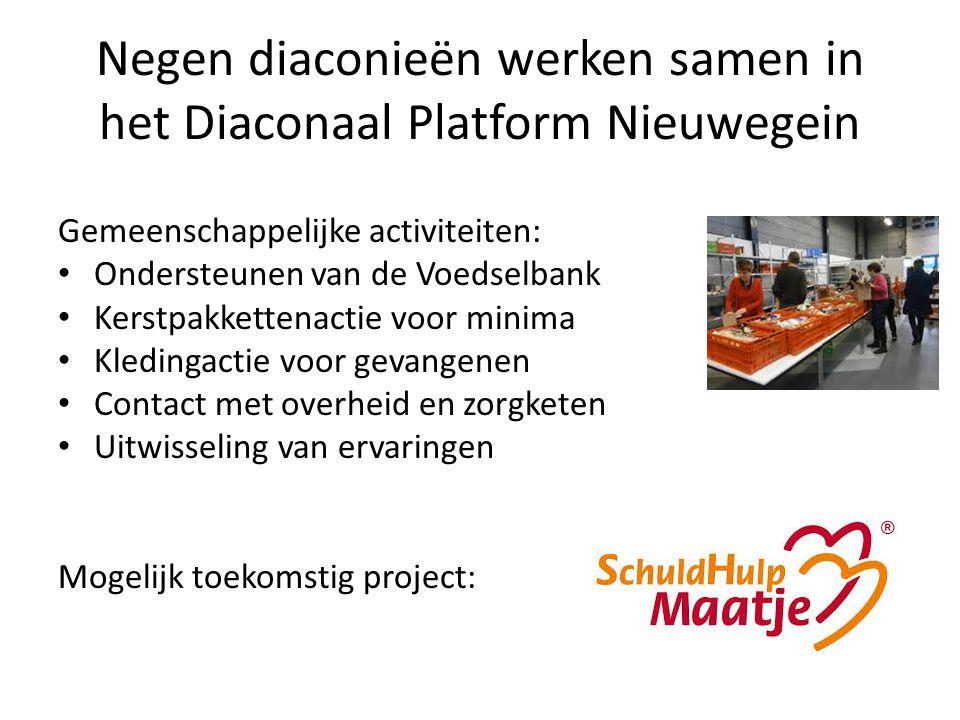 Negen diaconieën werken samen in het Diaconaal Platform Nieuwegein Gemeenschappelijke activiteiten: Ondersteunen van de Voedselbank Kerstpakkettenacti