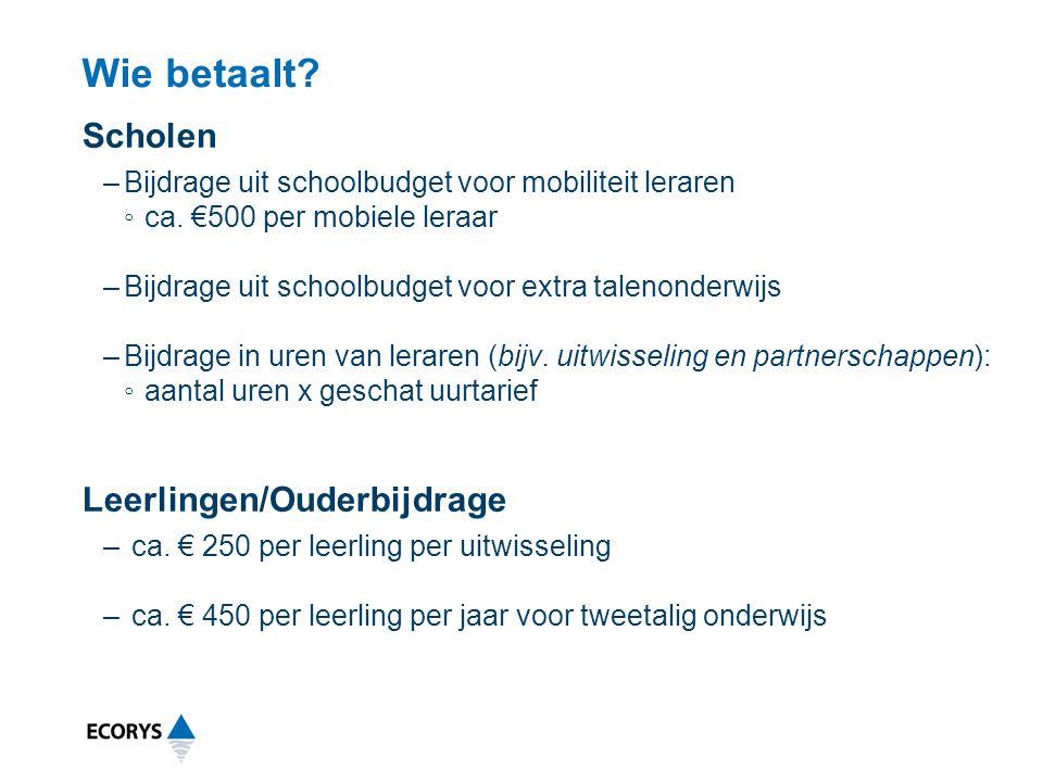 Wie betaalt? Scholen –Bijdrage uit schoolbudget voor mobiliteit leraren ◦ca. €500 per mobiele leraar –Bijdrage uit schoolbudget voor extra talenonderw