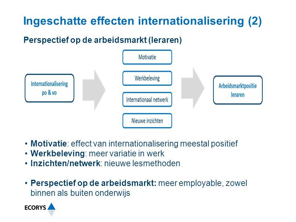 Ingeschatte effecten internationalisering (2) Motivatie: effect van internationalisering meestal positief Werkbeleving: meer variatie in werk Inzichte