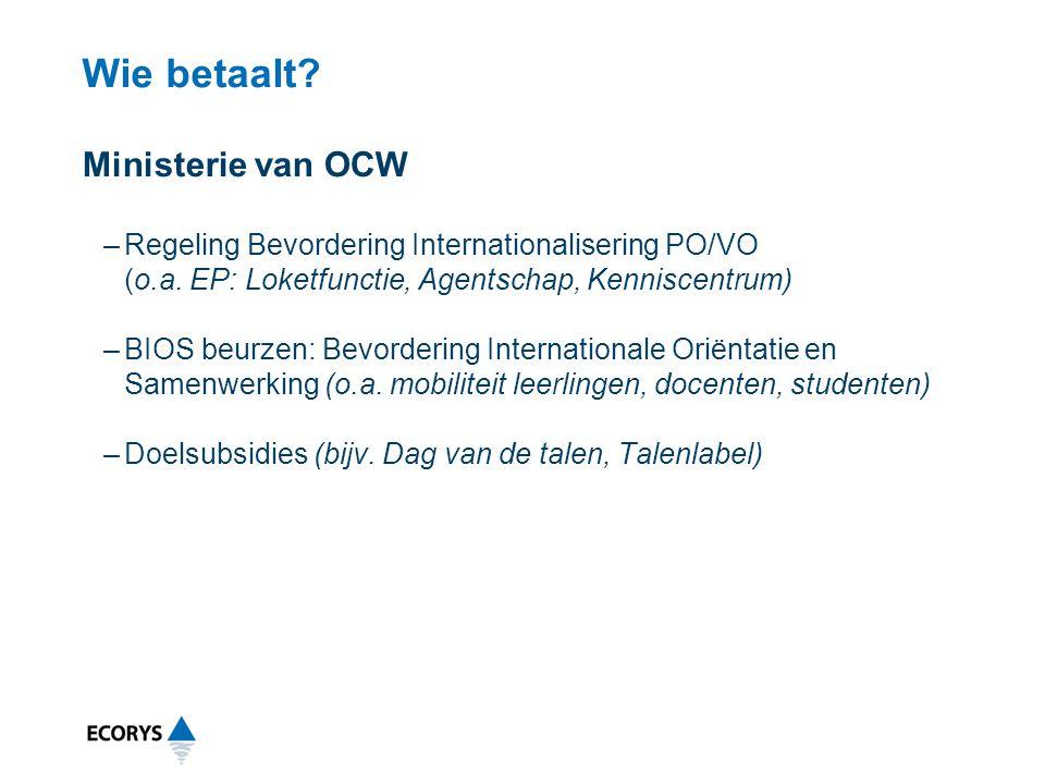 Wie betaalt? Ministerie van OCW –Regeling Bevordering Internationalisering PO/VO (o.a. EP: Loketfunctie, Agentschap, Kenniscentrum) –BIOS beurzen: Bev