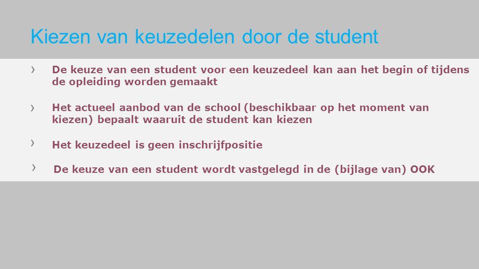 De keuze van een student voor een keuzedeel kan aan het begin of tijdens de opleiding worden gemaakt Het actueel aanbod van de school (beschikbaar op