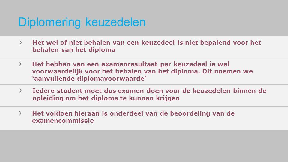 › Het wel of niet behalen van een keuzedeel is niet bepalend voor het behalen van het diploma › Het hebben van een examenresultaat per keuzedeel is we
