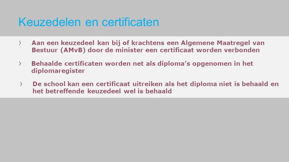 Aan een keuzedeel kan bij of krachtens een Algemene Maatregel van Bestuur (AMvB) door de minister een certificaat worden verbonden Behaalde certificat