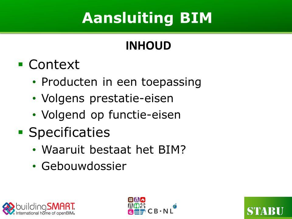  Context Producten in een toepassing Volgens prestatie-eisen Volgend op functie-eisen  Specificaties Waaruit bestaat het BIM.