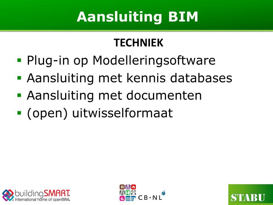  Plug-in op Modelleringsoftware  Aansluiting met kennis databases  Aansluiting met documenten  (open) uitwisselformaat Aansluiting BIM TECHNIEK