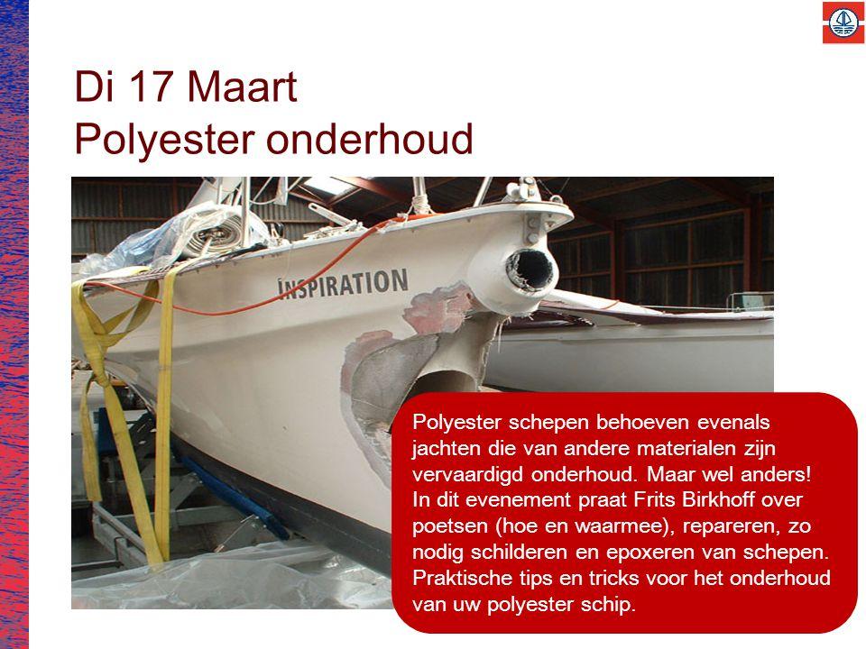 Di 17 Maart Polyester onderhoud Polyester schepen behoeven evenals jachten die van andere materialen zijn vervaardigd onderhoud.