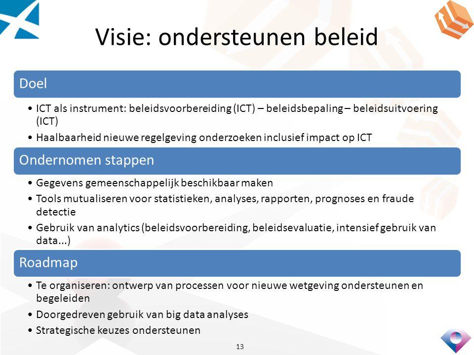 Visie: ondersteunen beleid Doel ICT als instrument: beleidsvoorbereiding (ICT) – beleidsbepaling – beleidsuitvoering (ICT) Haalbaarheid nieuwe regelgeving onderzoeken inclusief impact op ICT Ondernomen stappen Gegevens gemeenschappelijk beschikbaar maken Tools mutualiseren voor statistieken, analyses, rapporten, prognoses en fraude detectie Gebruik van analytics (beleidsvoorbereiding, beleidsevaluatie, intensief gebruik van data...) Roadmap Te organiseren: ontwerp van processen voor nieuwe wetgeving ondersteunen en begeleiden Doorgedreven gebruik van big data analyses Strategische keuzes ondersteunen 13