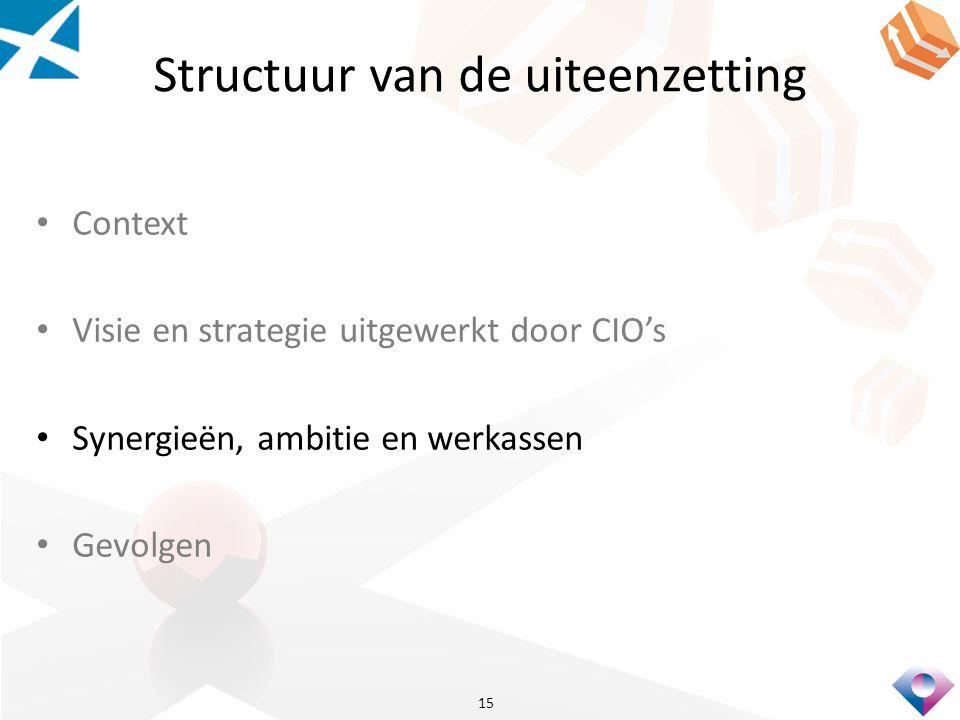 Structuur van de uiteenzetting Context Visie en strategie uitgewerkt door CIO's Synergieën, ambitie en werkassen Gevolgen 15