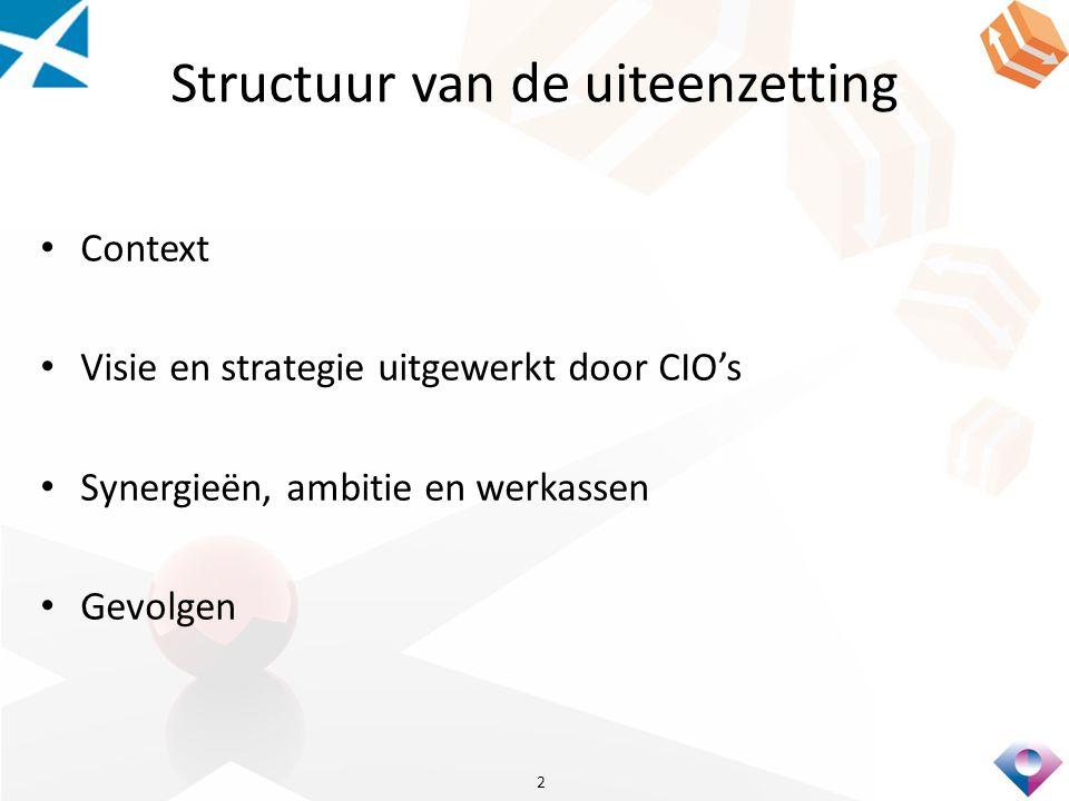 Structuur van de uiteenzetting Context Visie en strategie uitgewerkt door CIO's Synergieën, ambitie en werkassen Gevolgen 2