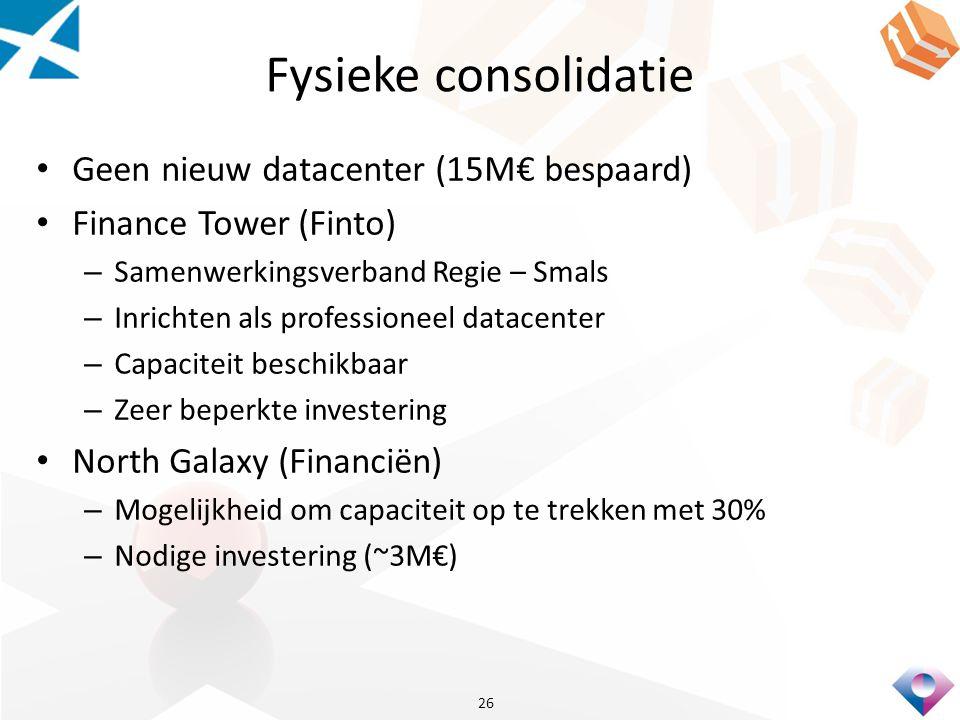 Fysieke consolidatie Geen nieuw datacenter (15M€ bespaard) Finance Tower (Finto) – Samenwerkingsverband Regie – Smals – Inrichten als professioneel datacenter – Capaciteit beschikbaar – Zeer beperkte investering North Galaxy (Financiën) – Mogelijkheid om capaciteit op te trekken met 30% – Nodige investering (~3M€) 26