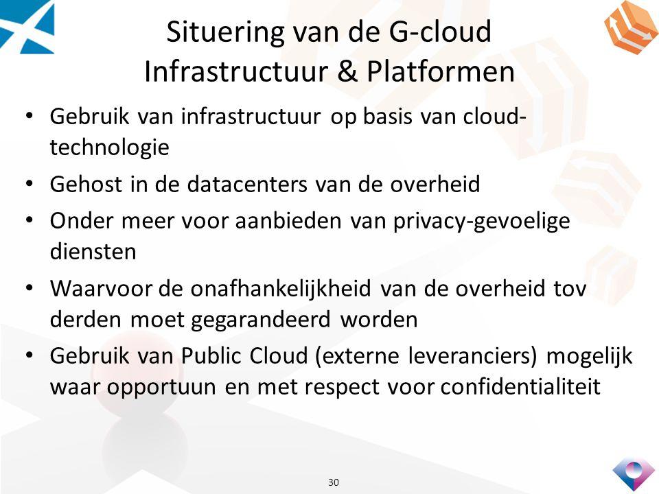 Situering van de G-cloud Infrastructuur & Platformen Gebruik van infrastructuur op basis van cloud- technologie Gehost in de datacenters van de overheid Onder meer voor aanbieden van privacy-gevoelige diensten Waarvoor de onafhankelijkheid van de overheid tov derden moet gegarandeerd worden Gebruik van Public Cloud (externe leveranciers) mogelijk waar opportuun en met respect voor confidentialiteit 30