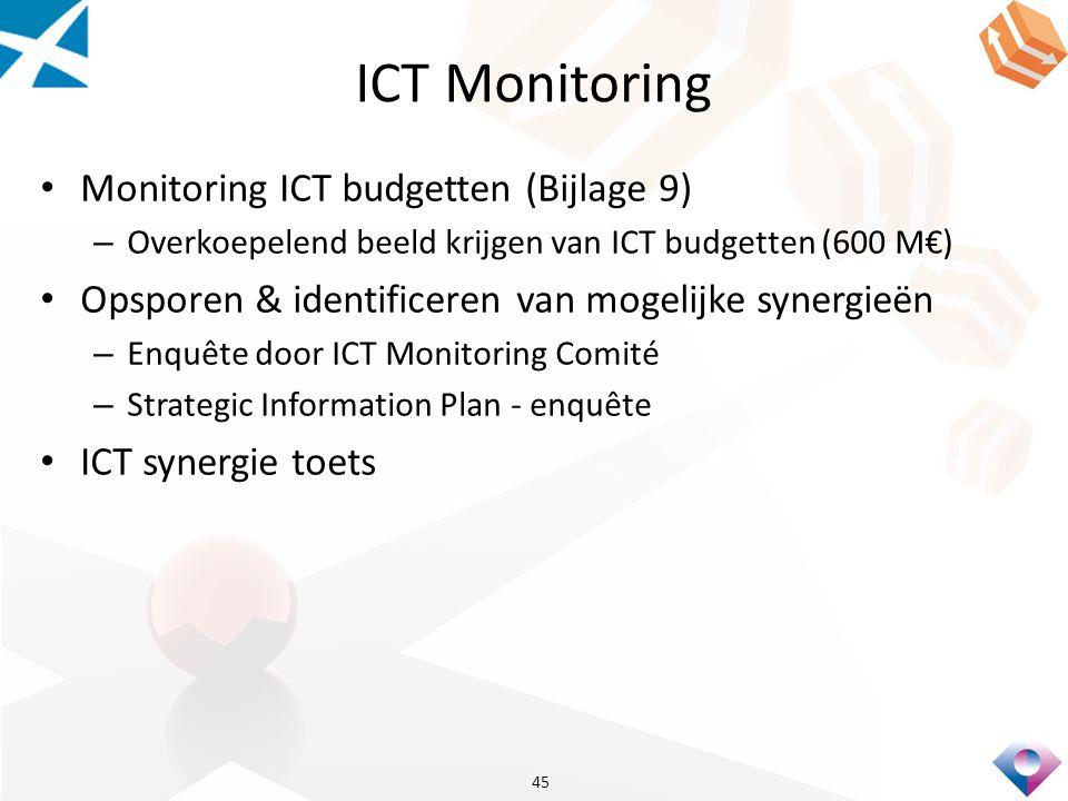 ICT Monitoring Monitoring ICT budgetten (Bijlage 9) – Overkoepelend beeld krijgen van ICT budgetten (600 M€) Opsporen & identificeren van mogelijke synergieën – Enquête door ICT Monitoring Comité – Strategic Information Plan - enquête ICT synergie toets 45