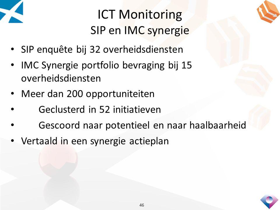 ICT Monitoring SIP en IMC synergie SIP enquête bij 32 overheidsdiensten IMC Synergie portfolio bevraging bij 15 overheidsdiensten Meer dan 200 opportuniteiten Geclusterd in 52 initiatieven Gescoord naar potentieel en naar haalbaarheid Vertaald in een synergie actieplan 46