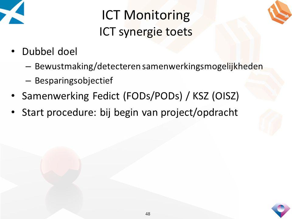 ICT Monitoring ICT synergie toets Dubbel doel – Bewustmaking/detecteren samenwerkingsmogelijkheden – Besparingsobjectief Samenwerking Fedict (FODs/PODs) / KSZ (OISZ) Start procedure: bij begin van project/opdracht 48