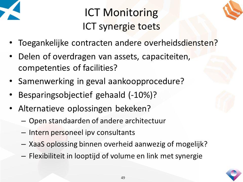 ICT Monitoring ICT synergie toets Toegankelijke contracten andere overheidsdiensten.