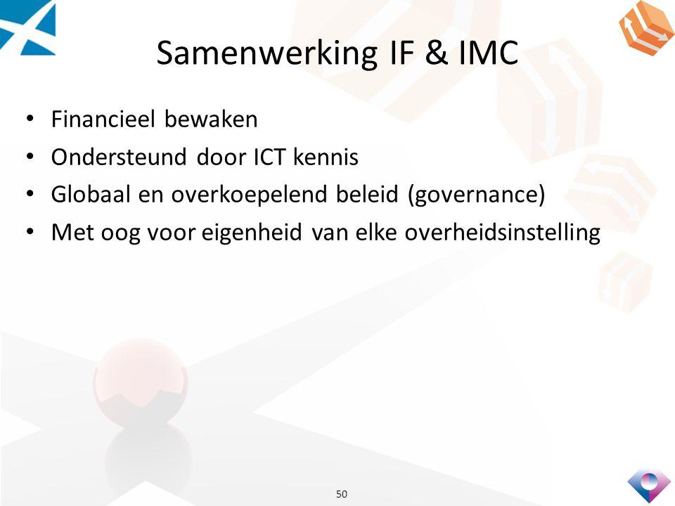 Samenwerking IF & IMC Financieel bewaken Ondersteund door ICT kennis Globaal en overkoepelend beleid (governance) Met oog voor eigenheid van elke overheidsinstelling 50