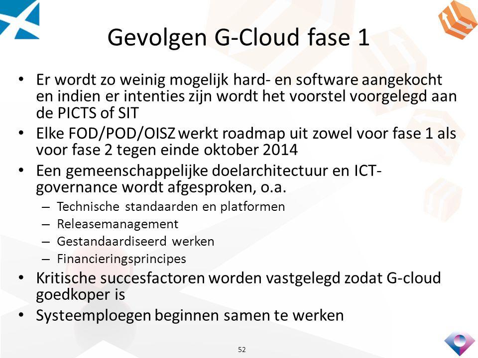 Gevolgen G-Cloud fase 1 Er wordt zo weinig mogelijk hard- en software aangekocht en indien er intenties zijn wordt het voorstel voorgelegd aan de PICTS of SIT Elke FOD/POD/OISZ werkt roadmap uit zowel voor fase 1 als voor fase 2 tegen einde oktober 2014 Een gemeenschappelijke doelarchitectuur en ICT- governance wordt afgesproken, o.a.
